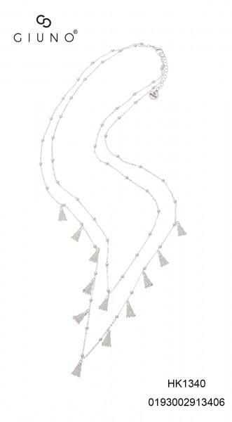 Metalkette Silber Mit Meherer Miniquasten & Metalkugeln