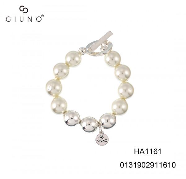 Perlen Armband In Weiss Silber Mit Gummizug