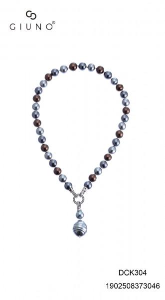 Perlenkette Grau Mit Strassstein Verschluss