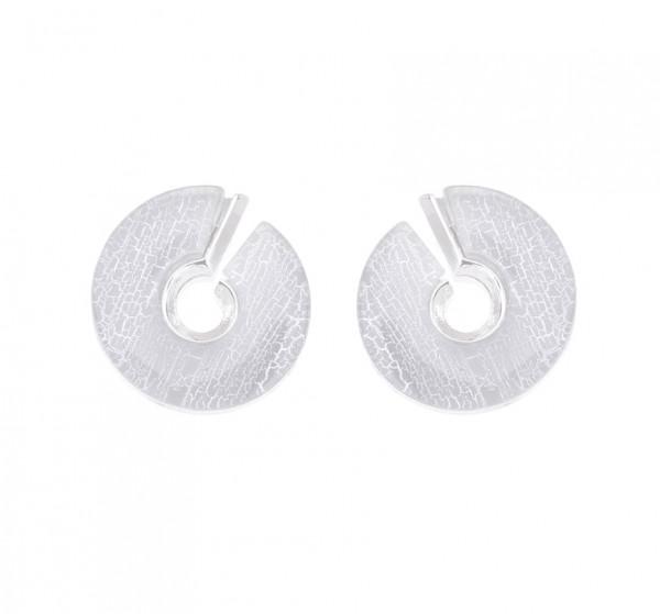 Ohrringe grau rund mit offenem Spalt