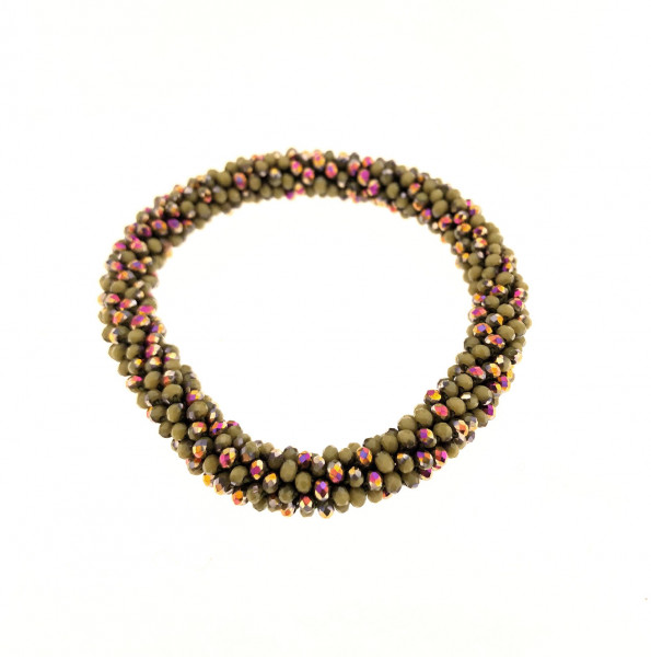 Fein Geflochtete Kristall Armband In Khakitöne