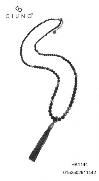 Acrylperlenkette lang schwarz mit Quast gold