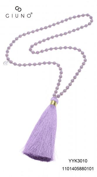 Glaskristallkette Violett Mit Großem Lila Stoffquast