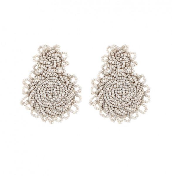 Ohrringe aus Acrylperlen in beige