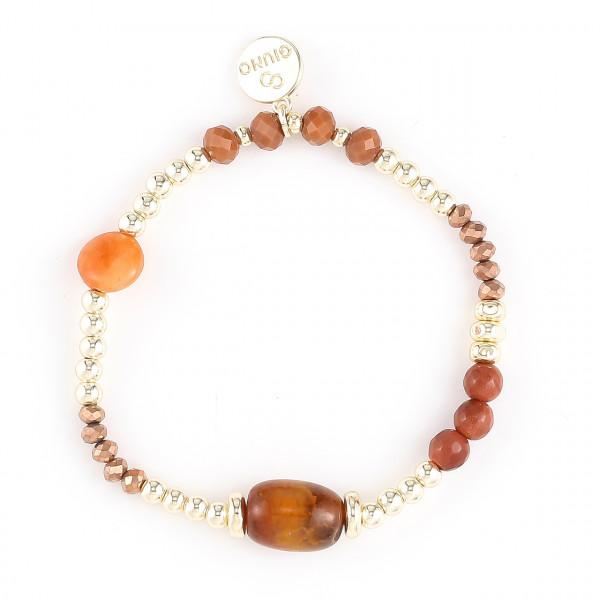 Armband Aus Stein/Metall/Kristallperlen Orange