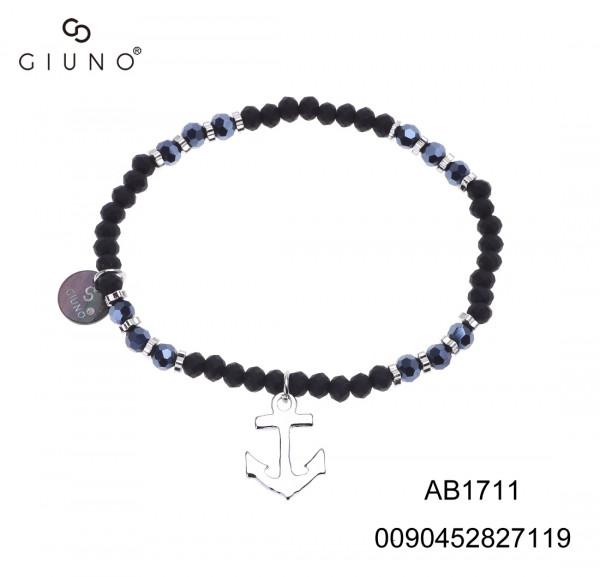 Kristallarmband Dunkel-Blau/ Schwarz Mit Ankeranhänger Silber