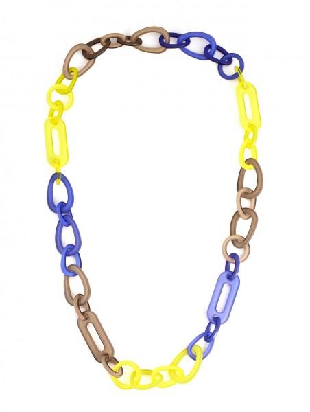 Gliederkette Lang Aus Acryl In Blau/Gelb