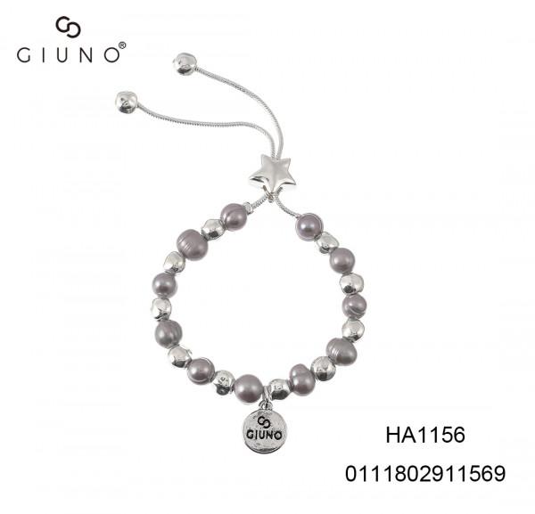 Schlaufenarmband Metallstern Und Perlen Grau