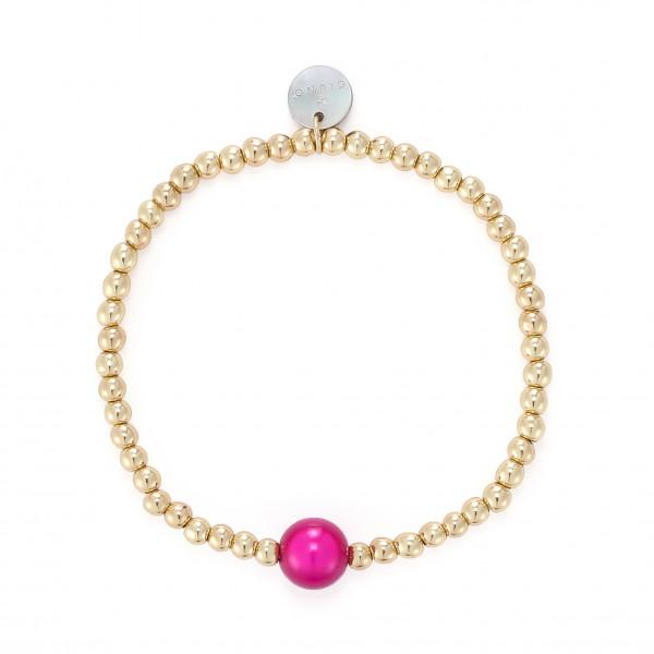 Elastischer Armband In Gold Mit Pinkem Kugel