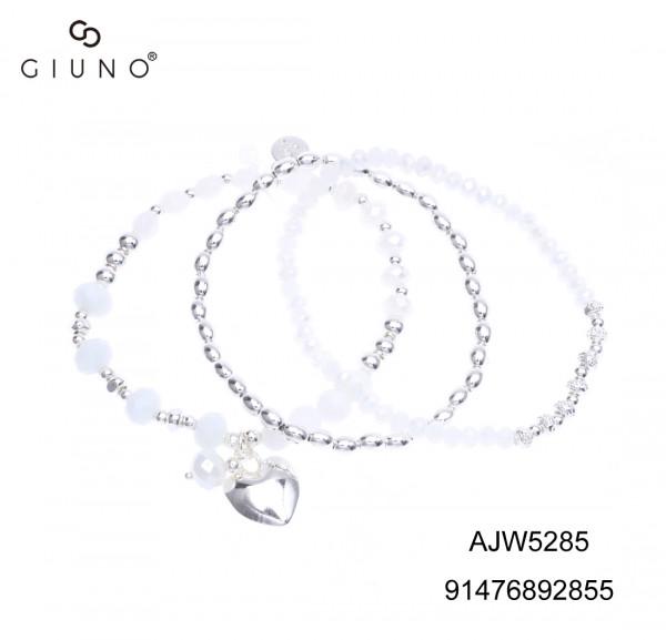 Kristallperlenarmband Weiss Mit Metallperlen Silber Und Herzanhänger