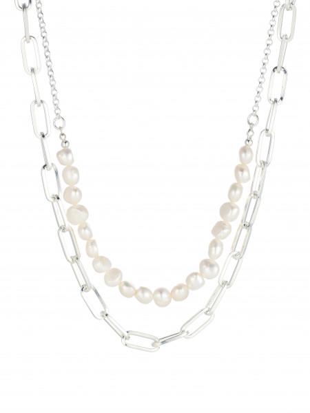 Zweireihige Metallkette Mit Perlen