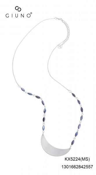Metalkette Lang Silber Mit Halbmondanhänger Und Glasperlen