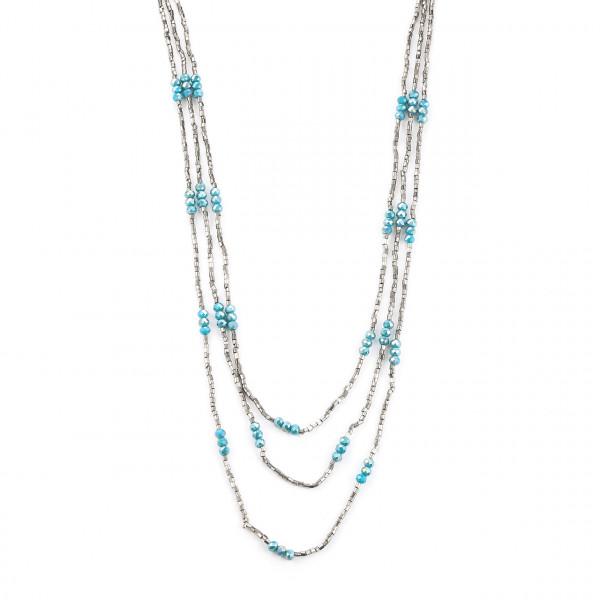 Dreireihige Kette Mit Glasperlen Silber Blautöne