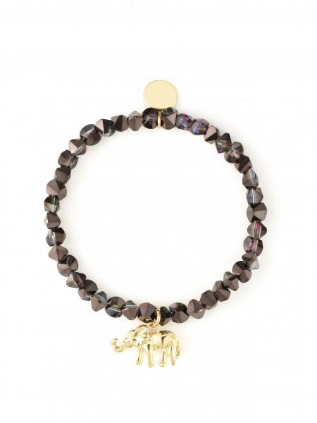 Armband Aus Glasperlen In Dunkellila Mit Elefant-Anhänger