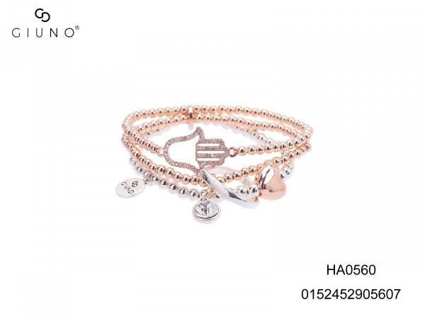 Perlenarmband Aus Metall Rose/Silber Mit Herz- U. Handanhängern