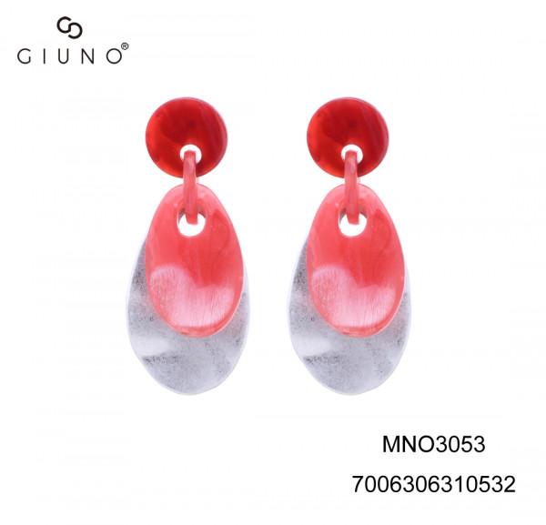 Ohring aus Acryl rot/weiss auf Metallapplikation silber