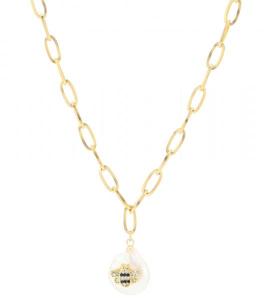 Schmalle Edelstahlkette Bienen Perlen Gold
