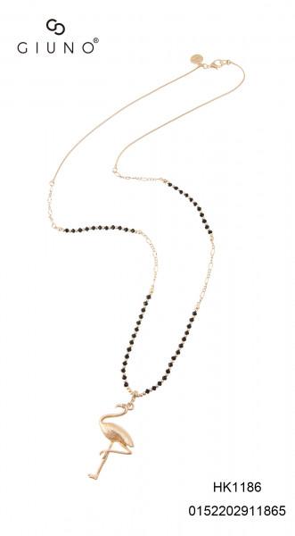 Metall-Glasperlenkette gold mit Galsperlen schwarz und Flamingoanhänger