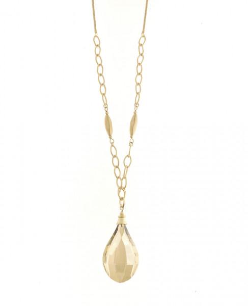 Metall Gold Kette Lang Mit Grossem Kristallsteigoldton