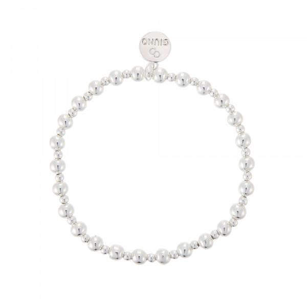 Perlenarmband In Gemischter Größe Mit Gummizug In Silber