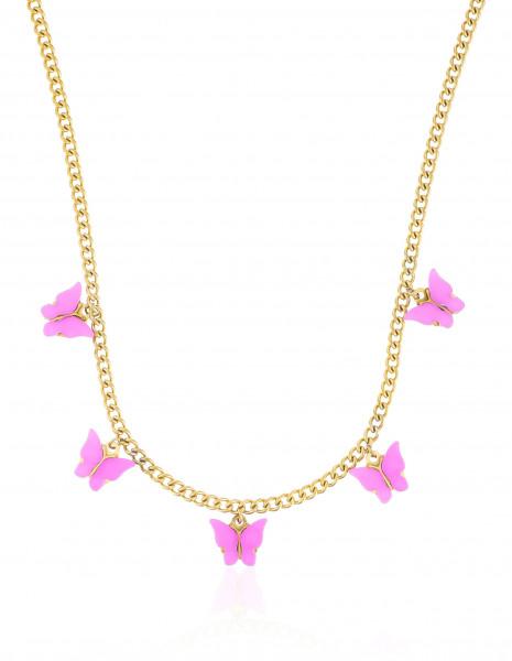 Kurze Edelstahlkette Gold Mit Schmetterling