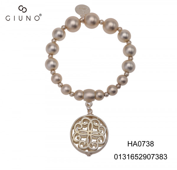 Metallperlenarmband Gold Mit Ornamentanhänger