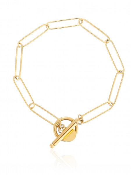 Gliederarmband Edelstahl Mit T-Steg Verschluss Gold