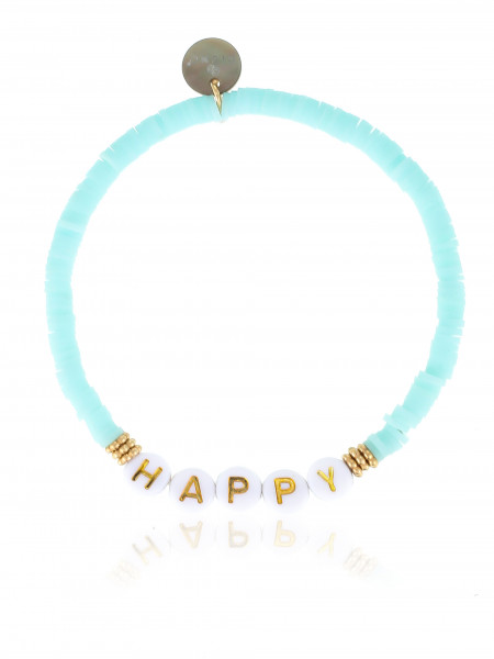 Armband Neonblau Mit Gummizug Happy