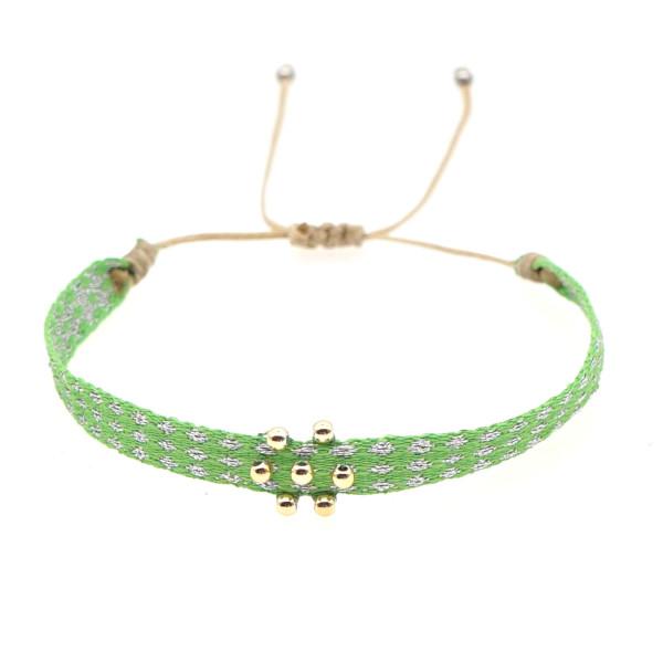 Schmales Stoffarmband Grün Mit Perlen