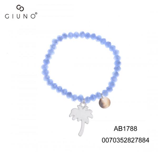 Kristallarmband Blauton Glänzend Mit Anhänger Palme Silber
