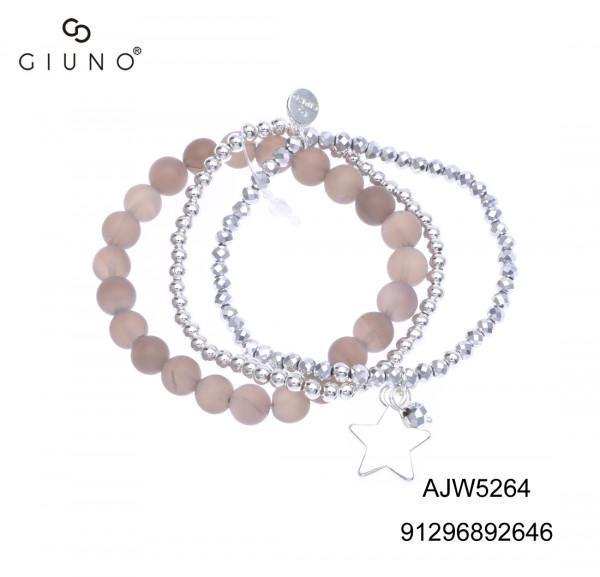 Kristallarmband Silber Mit Kristall-Glasperlen Lilaton Sternanhänger Silber