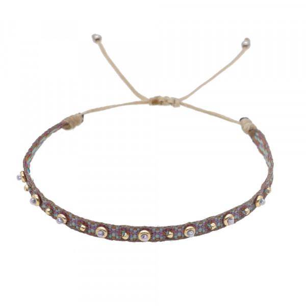 Schmales Stoffarmband Mit Perlen