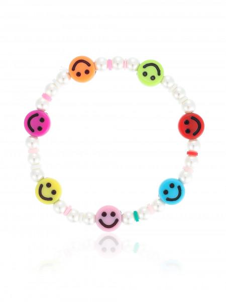 Glasperlenarmband Mit Bunten Smiley