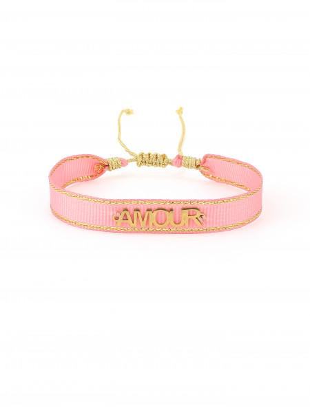 Stoffarmband Pink Mit Amore
