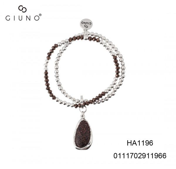 Metalperlen Silber&Kristallperlen Armband Mit Oval Braun Sand Glitzer Anhänger