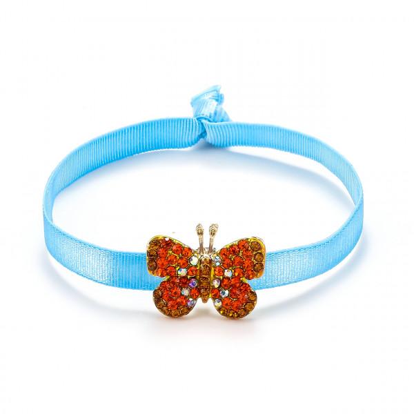 Elastischer Armband Blau Mit Schmetterling