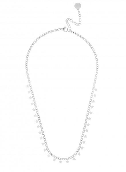Kleine Gliederkette Kurz Aus Edelstahl Mit Stern-Anhänger In Silber