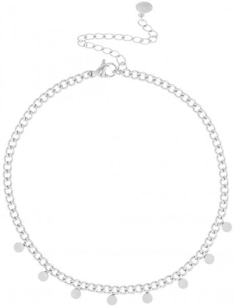 Kleiner Gliederarmband Aus Edelstahl Mit Plättchen-Anhänger In Silber