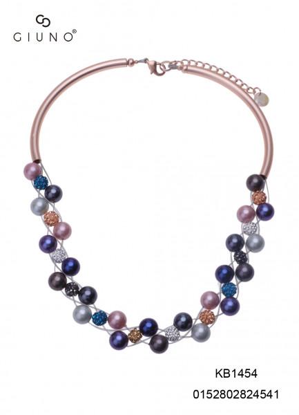 Kristallkette Kurz Mehrfarbig Mit Metallspangen Rosa