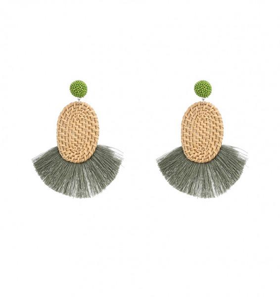 Rattanohrringe Oval Mit Olivegrünen Quasten