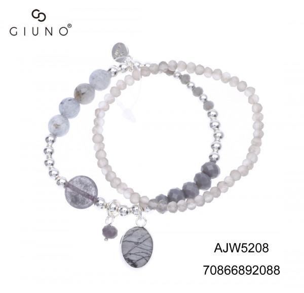 Kristallarmband Mit Metallperlen Silber Und Natursteinanhänger