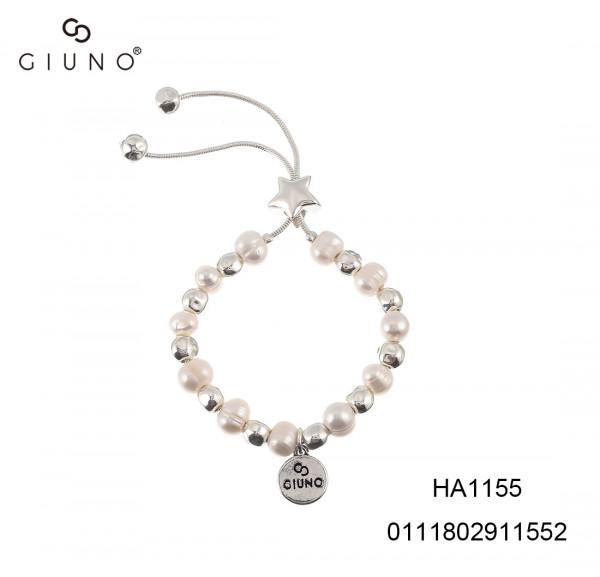 Schlaufenarmband Metallperlen Und Perlen Silber