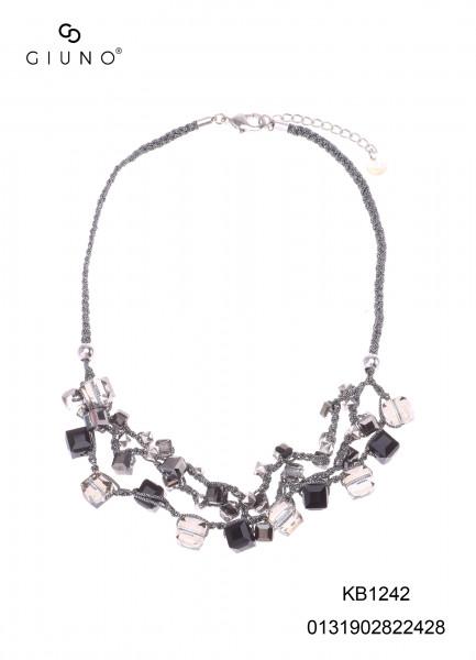 Kristallkette Silber Mit Schwarzen-/Glasfarbigen Kristallsteine