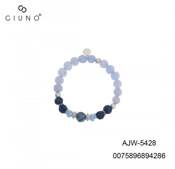 Elastische Armband Mit Naturstein Und Lava In Blau