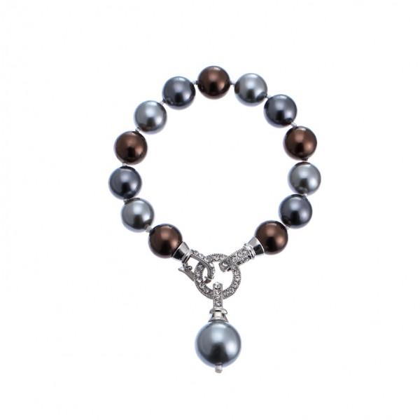 Perlen Armbandgrau Braun Mit Strassstein Verschluss