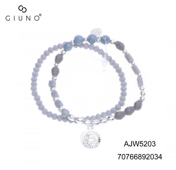 Kristallperlenarmband Grau Mit Silberanhänger Buddha