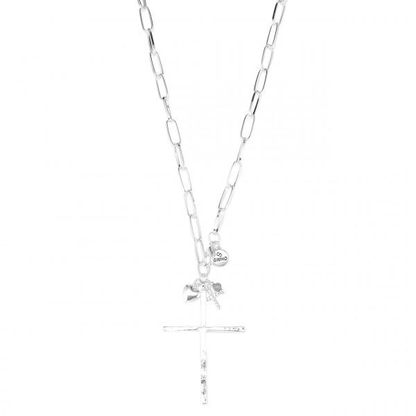 Metallkette Lang In Silber Mit Kreuz Und Liebelle Anhänger