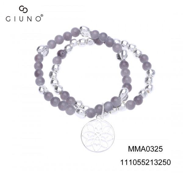 Metallperlenarmband Silber Mit Glasstein Grautöne Silber