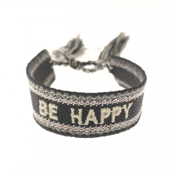 Be Happy Stoffarmband In Schwarz