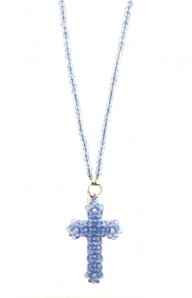 Kristallkette Lang Mit Kreuz-Anhänger In Blau